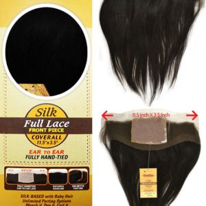 "BRAZILIAN 100% VIRGIN REMI SILK FULL LACE FRONT PIECE COVERALL 11.5"" X 3.5"" EAR, FULLY HAND. TIED NATURAL HAIRLINE UNLIMITED PARTING"