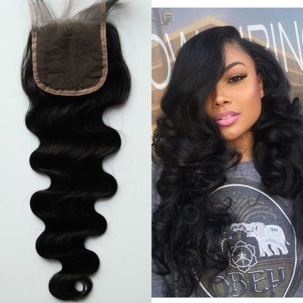 LACE CLOSURE BRAZILIAN NATURAL 4X4 100% REMY HUMAN HAIR TYPE MIDDLE PART SIDE