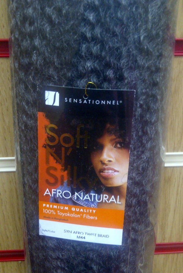 SENSATIONNEL SOFT N' SILK AFRO NATURAL PREMIUM QUALITY 100% FIBERS SYN AFRO TWIST BRAID