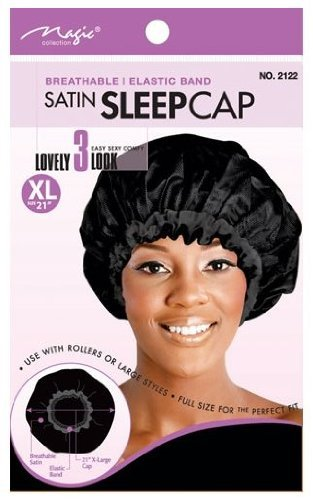 T&G COLLECTION BREATHABLE ELASTIC BAND SATIN SLEEP CAP BLACK